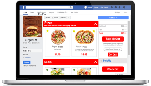 pizzeria online facebook ordering